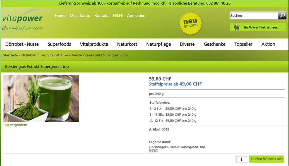 Fasten mit Gerstengras-Pulver - im Shop bestellen