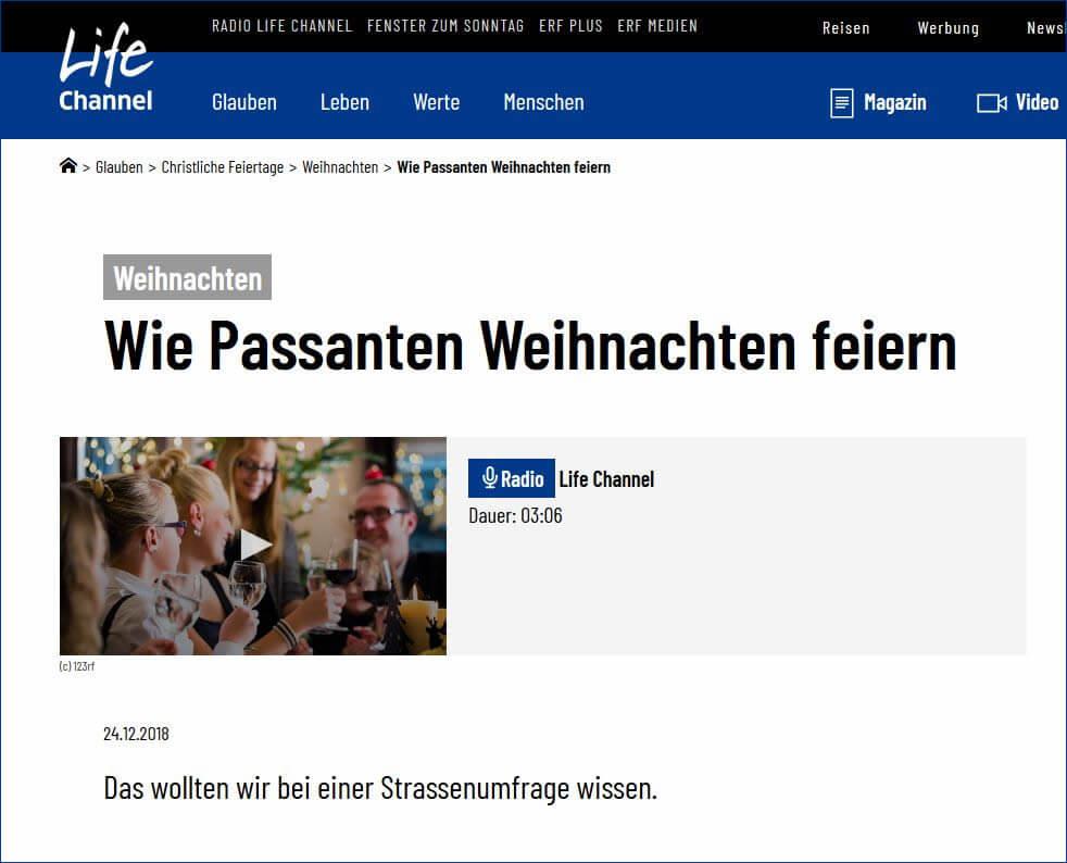 Strassenumfrage Radio Life Channel: Wie passanaten Weihnachten feiern